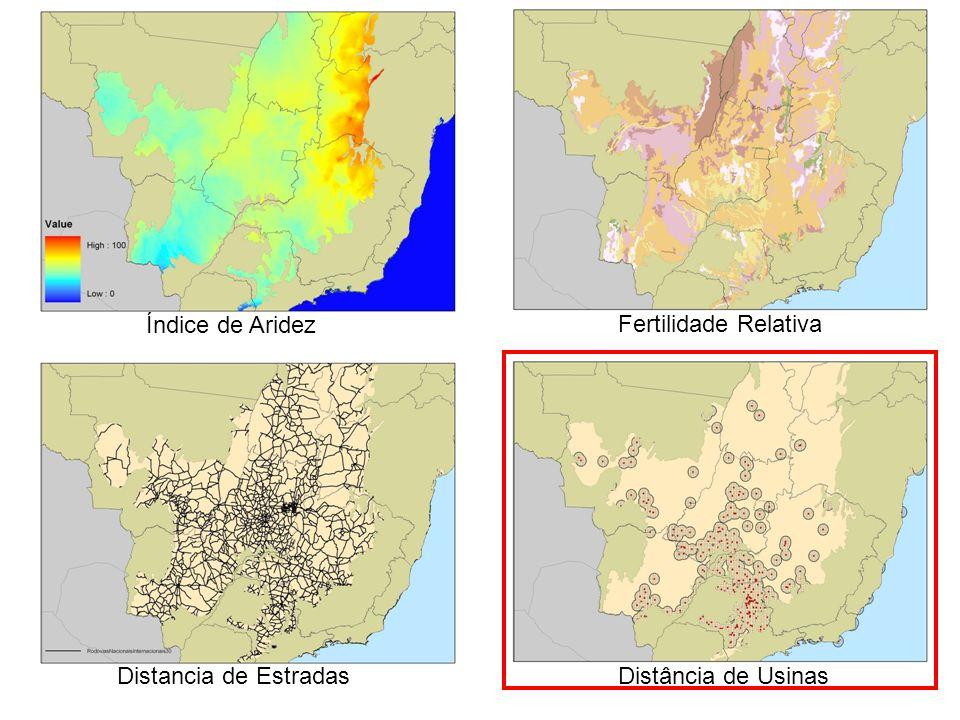 Índice de Aridez Fertilidade Relativa Distancia de Estradas Distância de Usinas