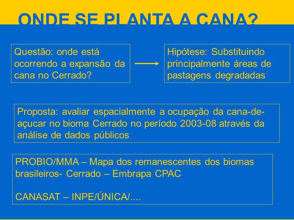ONDE SE PLANTA A CANA Questão: onde está ocorrendo a expansão da cana no Cerrado