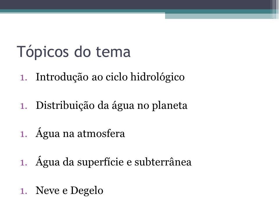 Tópicos do tema Introdução ao ciclo hidrológico