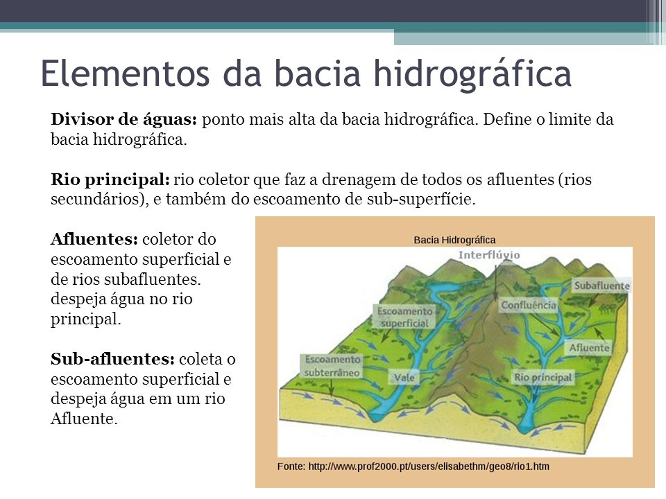 Elementos da bacia hidrográfica