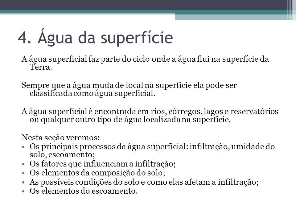 4. Água da superfícieA água superficial faz parte do ciclo onde a água flui na superfície da Terra.