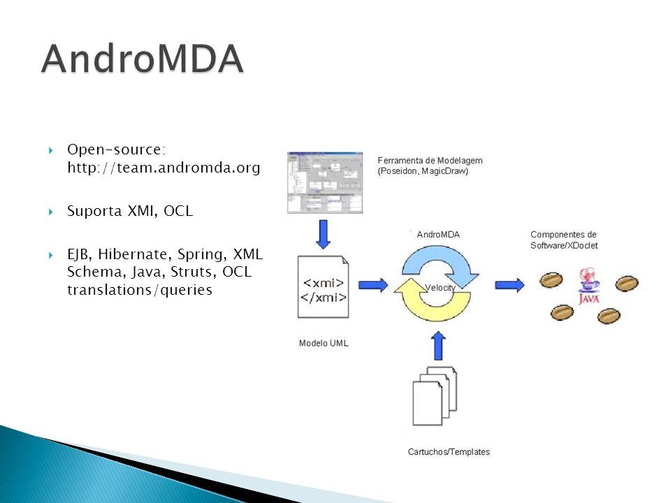 AndroMDA Open-source: http://team.andromda.org Suporta XMI, OCL