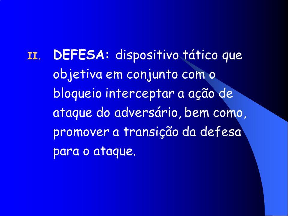 DEFESA: dispositivo tático que objetiva em conjunto com o bloqueio interceptar a ação de ataque do adversário, bem como, promover a transição da defesa para o ataque.