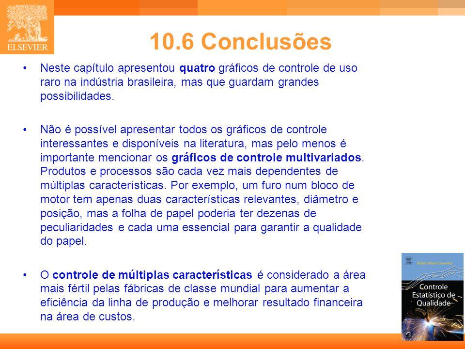 10.6 Conclusões Neste capítulo apresentou quatro gráficos de controle de uso raro na indústria brasileira, mas que guardam grandes possibilidades.