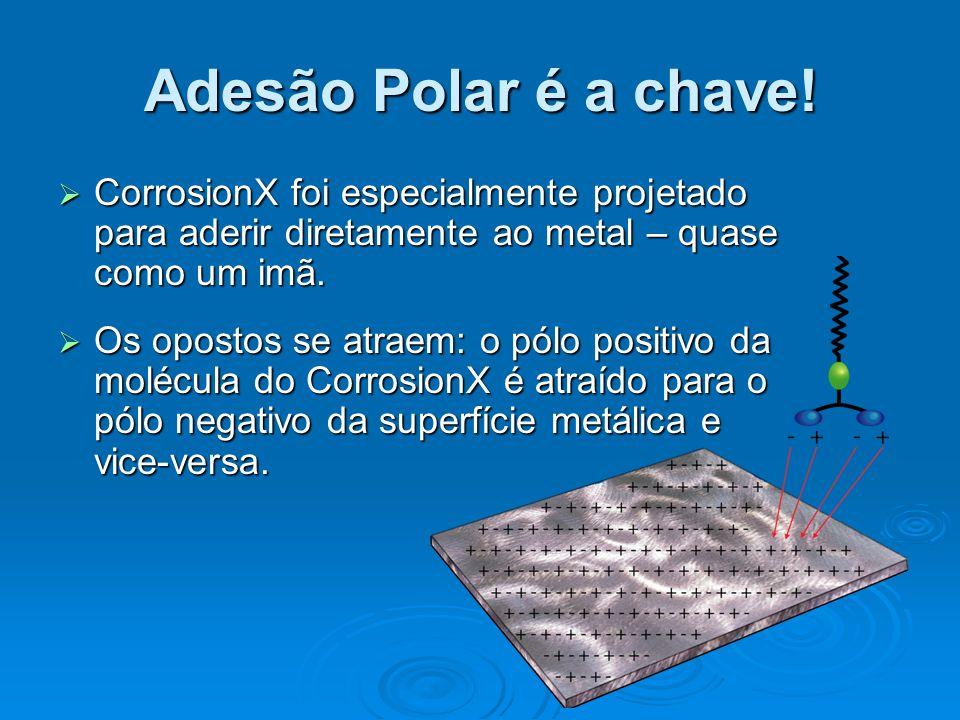 Adesão Polar é a chave! CorrosionX foi especialmente projetado para aderir diretamente ao metal – quase como um imã.