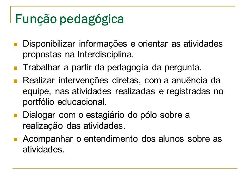 Função pedagógica Disponibilizar informações e orientar as atividades propostas na Interdisciplina.