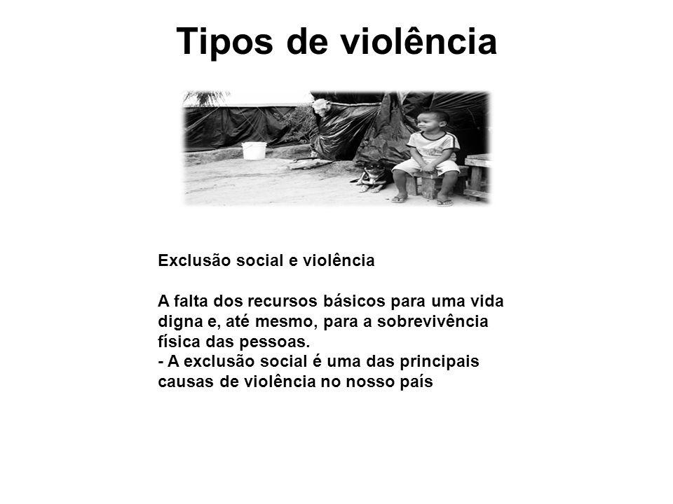 Tipos de violência Exclusão social e violência