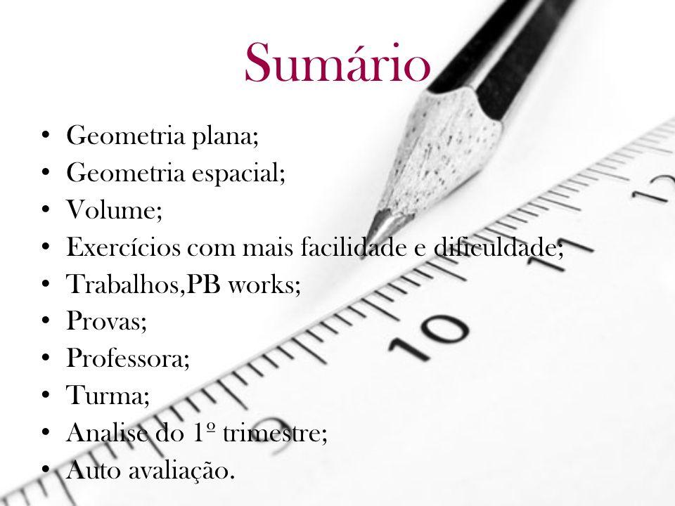 Sumário Geometria plana; Geometria espacial; Volume;