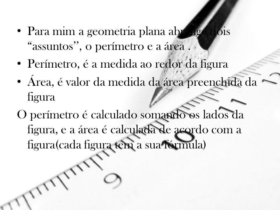 Para mim a geometria plana abrange dois assuntos'', o perímetro e a área .