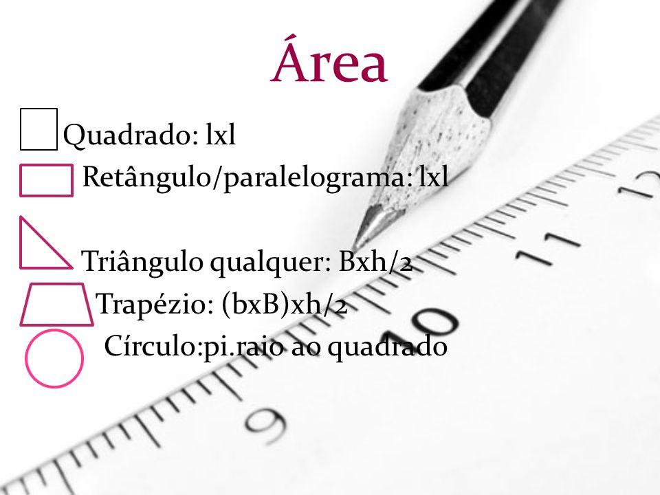 Área Quadrado: lxl Retângulo/paralelograma: lxl
