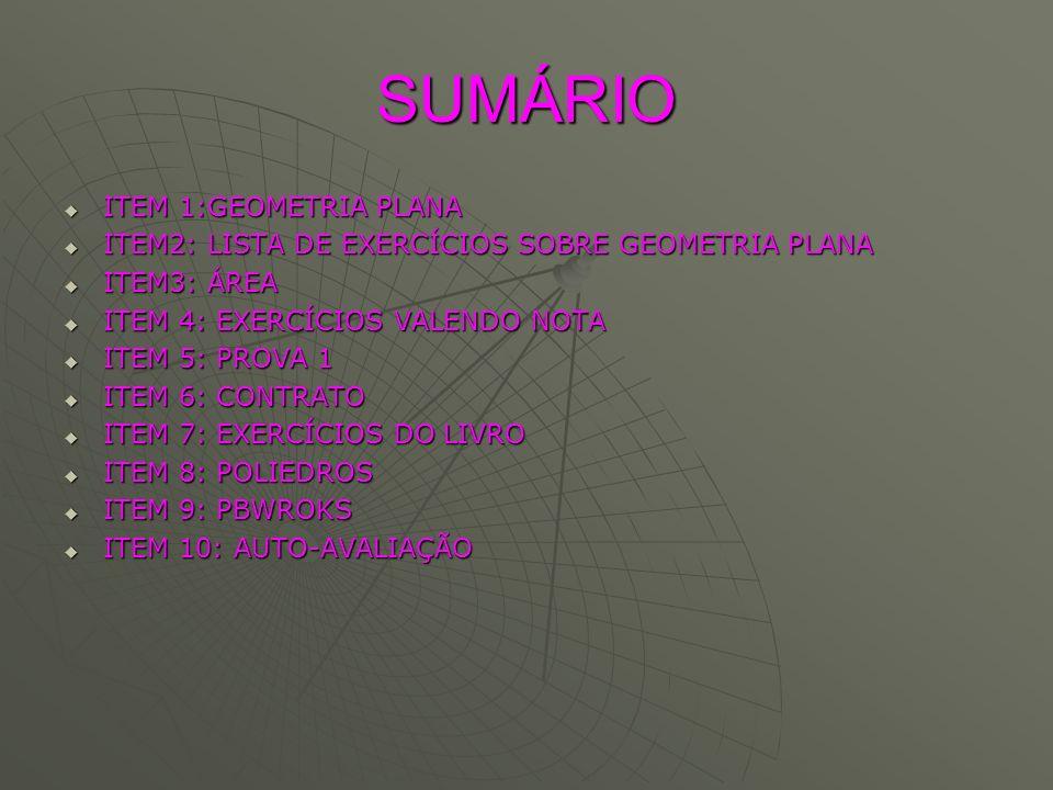 SUMÁRIO ITEM 1:GEOMETRIA PLANA