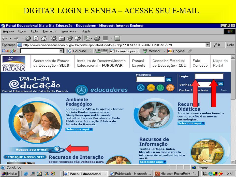 DIGITAR LOGIN E SENHA – ACESSE SEU E-MAIL