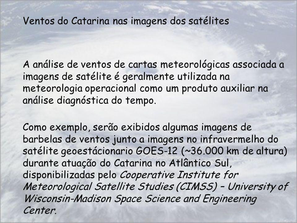 Ventos do Catarina nas imagens dos satélites