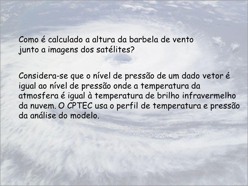 Como é calculado a altura da barbela de vento junto a imagens dos satélites