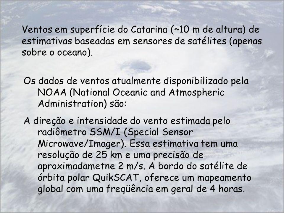 Ventos em superfície do Catarina (~10 m de altura) de estimativas baseadas em sensores de satélites (apenas sobre o oceano).