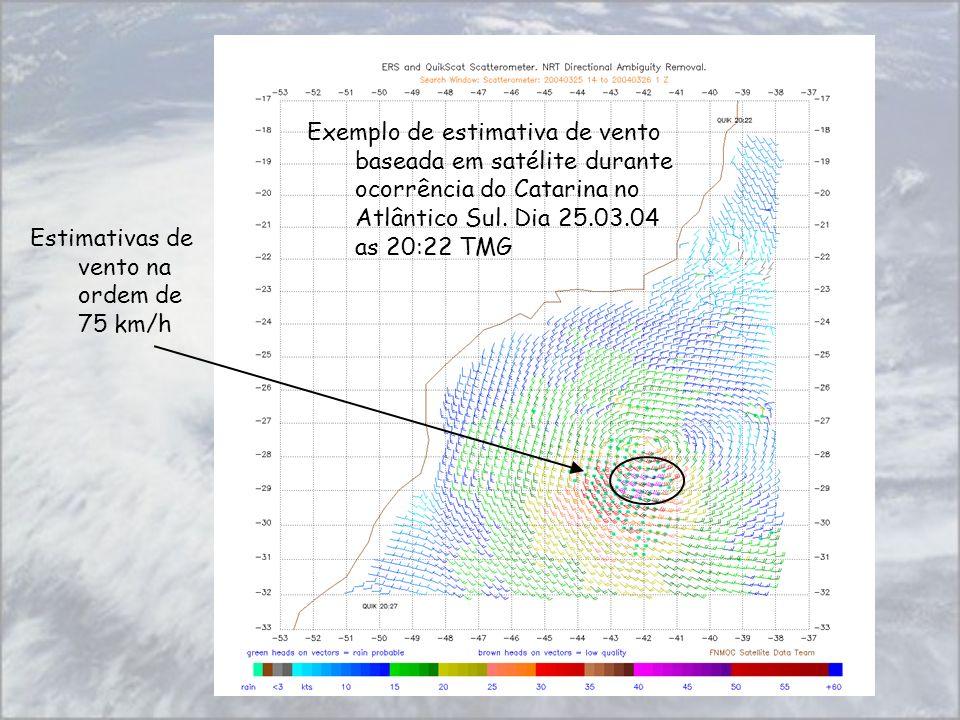 Exemplo de estimativa de vento baseada em satélite durante ocorrência do Catarina no Atlântico Sul. Dia 25.03.04 as 20:22 TMG