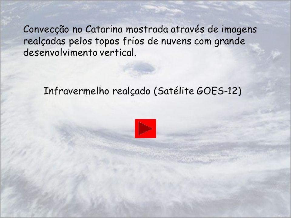 Convecção no Catarina mostrada através de imagens realçadas pelos topos frios de nuvens com grande desenvolvimento vertical.