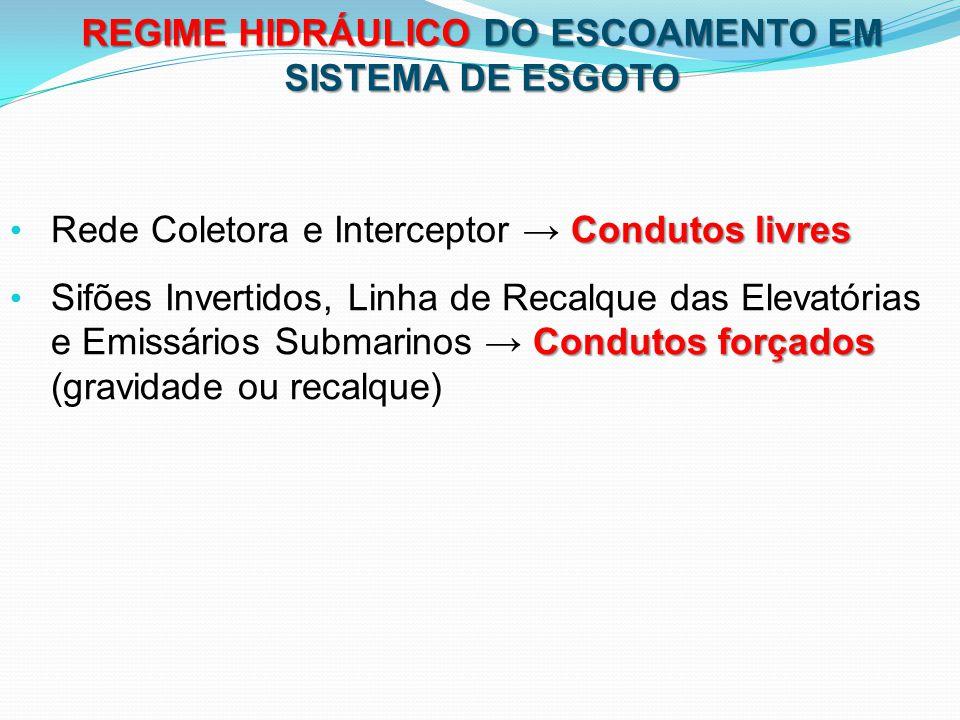 REGIME HIDRÁULICO DO ESCOAMENTO EM SISTEMA DE ESGOTO
