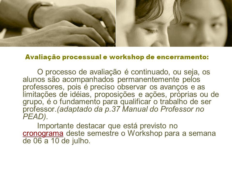 Avaliação processual e workshop de encerramento: