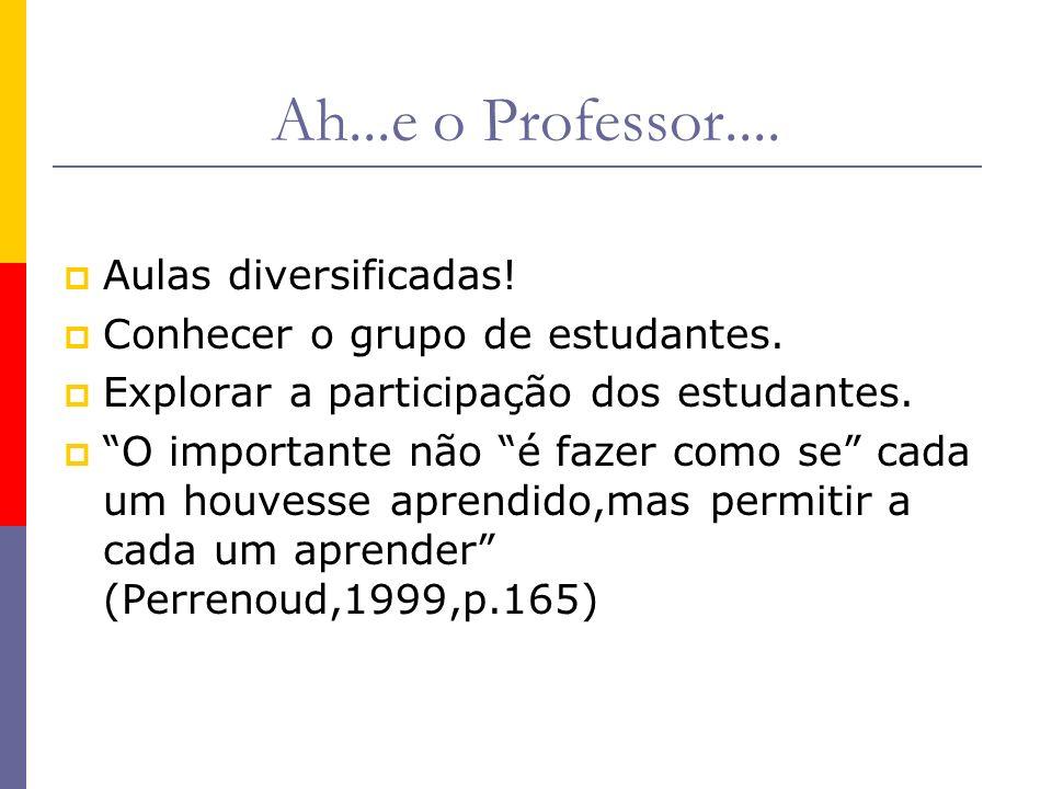 Ah...e o Professor.... Aulas diversificadas!