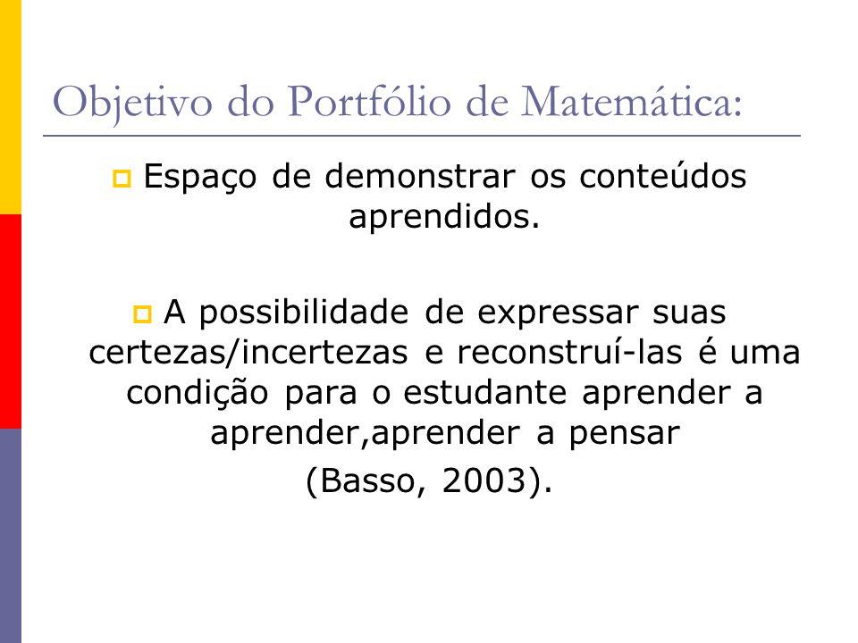 Objetivo do Portfólio de Matemática: