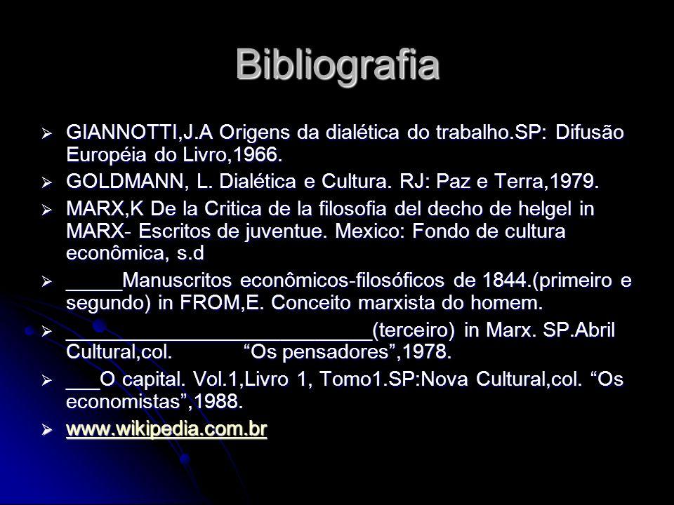 Bibliografia GIANNOTTI,J.A Origens da dialética do trabalho.SP: Difusão Européia do Livro,1966.