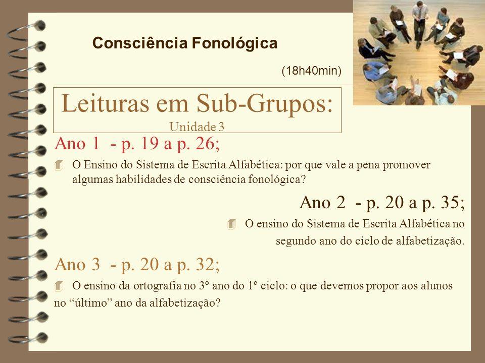 Leituras em Sub-Grupos: Unidade 3