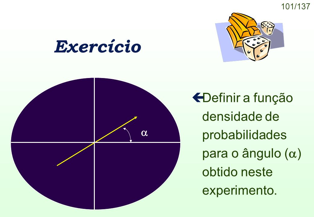Exercício Definir a função densidade de probabilidades para o ângulo () obtido neste experimento.
