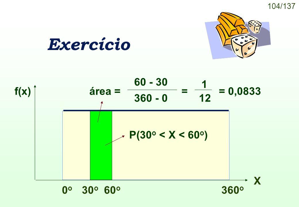 Exercício área = 60 - 30 360 - 0 = 1 12 = 0,0833 f(x) 0o 360o X