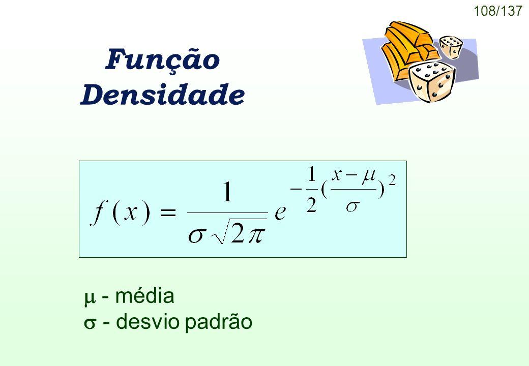 Função Densidade  - média  - desvio padrão