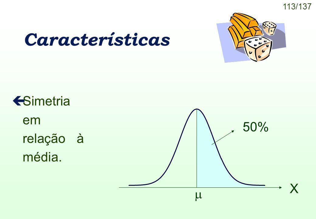 Características Simetria em relação à média. 50% X 