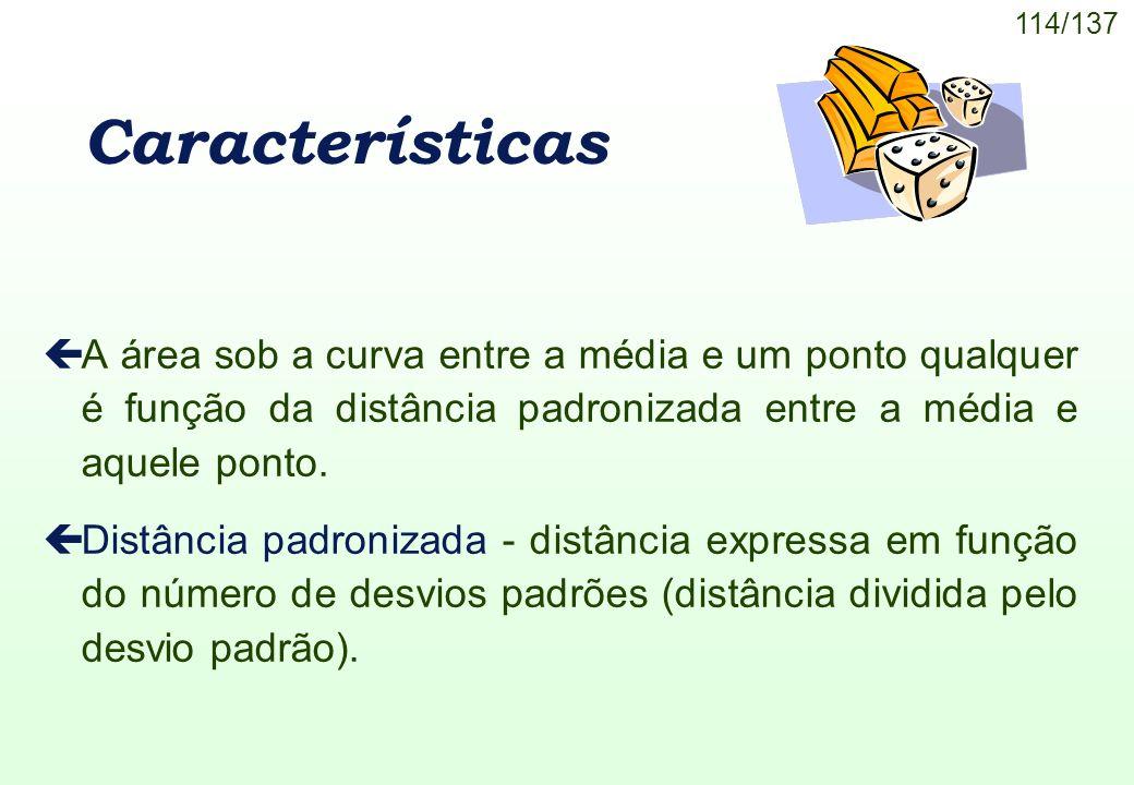 Características A área sob a curva entre a média e um ponto qualquer é função da distância padronizada entre a média e aquele ponto.