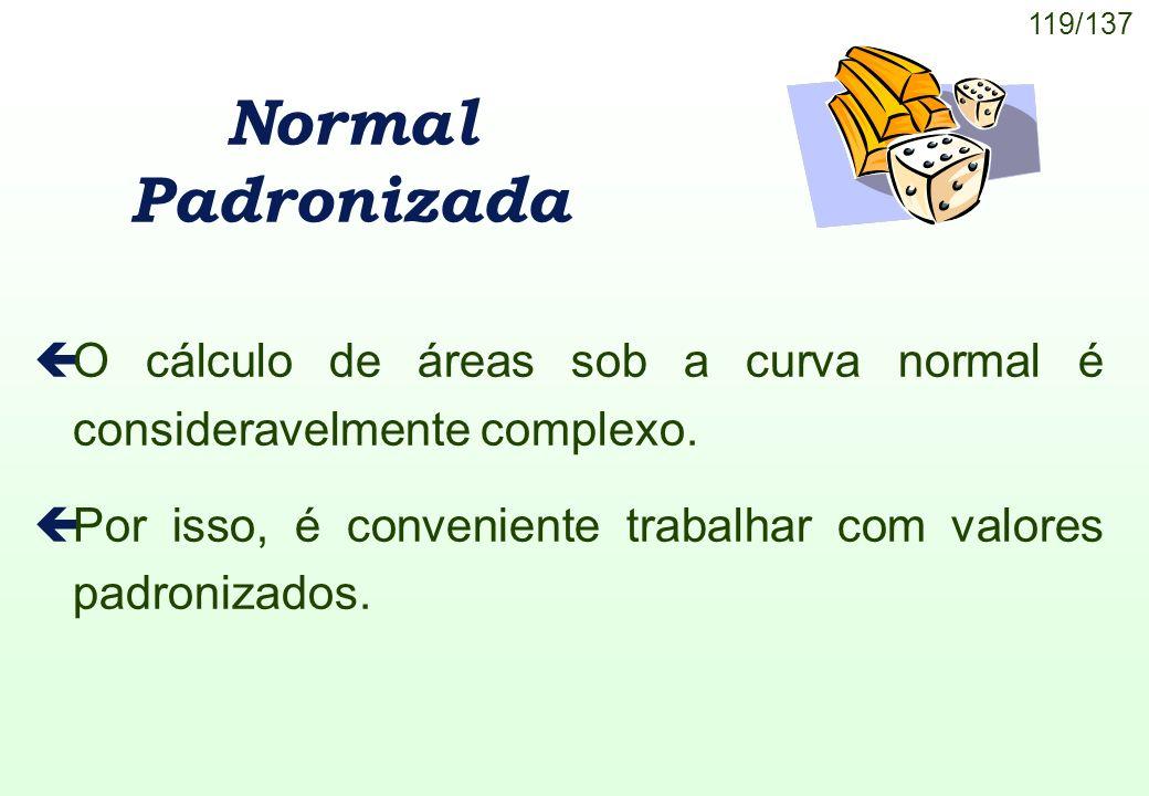 Normal Padronizada O cálculo de áreas sob a curva normal é consideravelmente complexo.