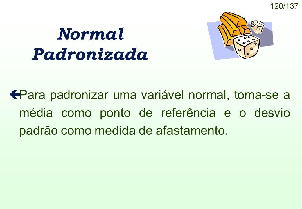 Normal Padronizada Para padronizar uma variável normal, toma-se a média como ponto de referência e o desvio padrão como medida de afastamento.