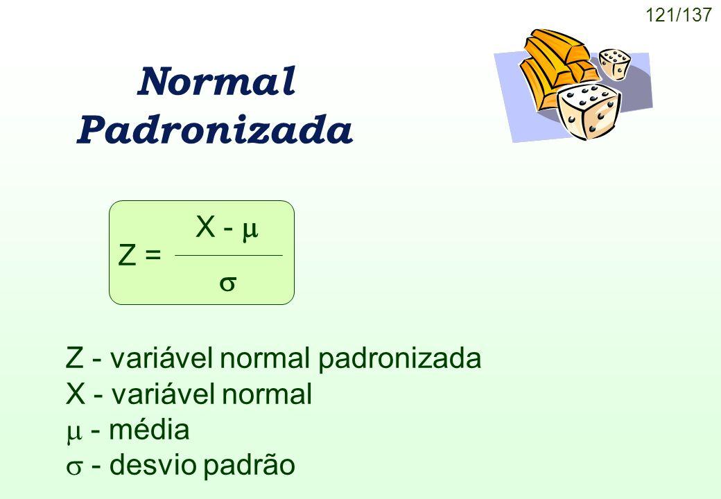 Normal Padronizada X -  Z =  Z - variável normal padronizada
