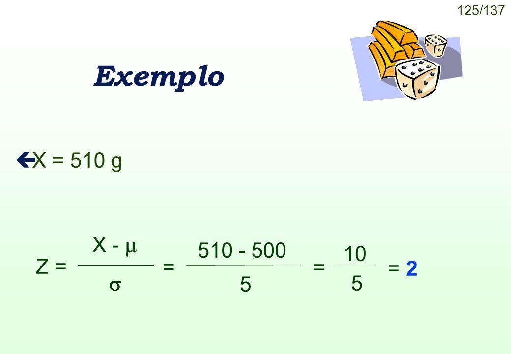 Exemplo X = 510 g Z = X -   510 - 500 5 = = 10 5 = 2