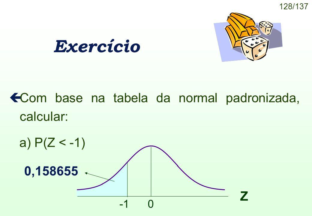 Exercício Com base na tabela da normal padronizada, calcular: