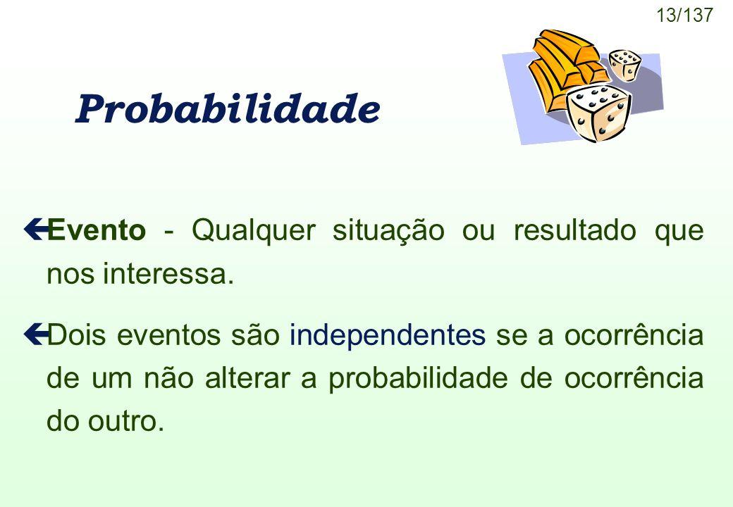 Probabilidade Evento - Qualquer situação ou resultado que nos interessa.