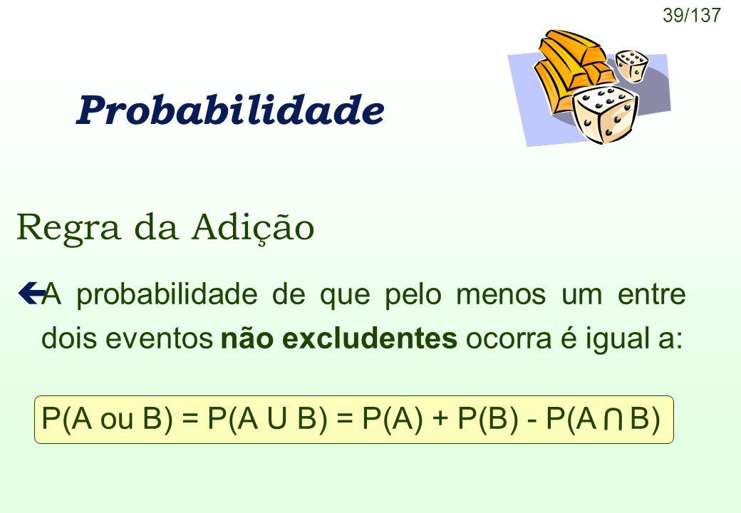 P(A ou B) = P(A U B) = P(A) + P(B) - P(A B)