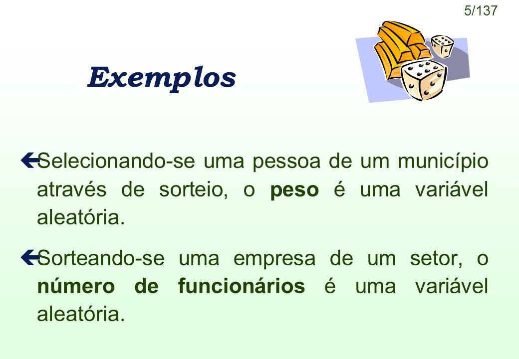 Exemplos Selecionando-se uma pessoa de um município através de sorteio, o peso é uma variável aleatória.