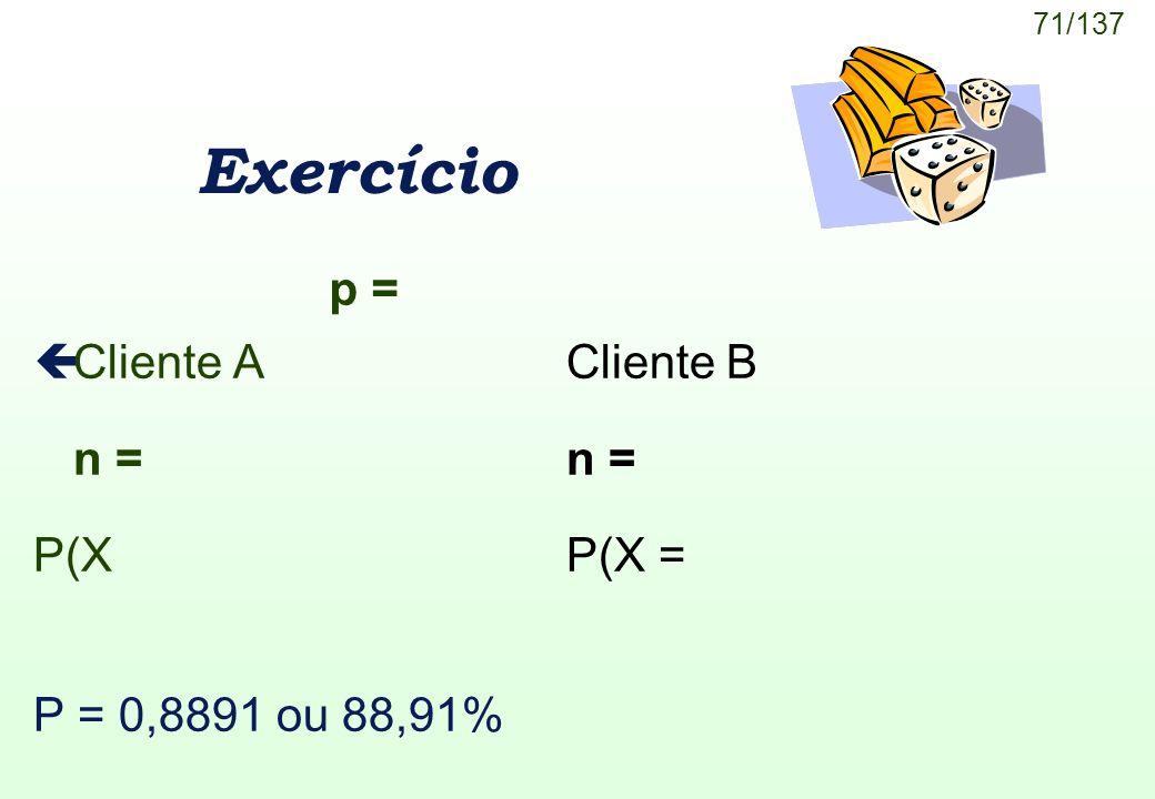 Exercício p = Cliente A Cliente B n = n = P(X P(X =