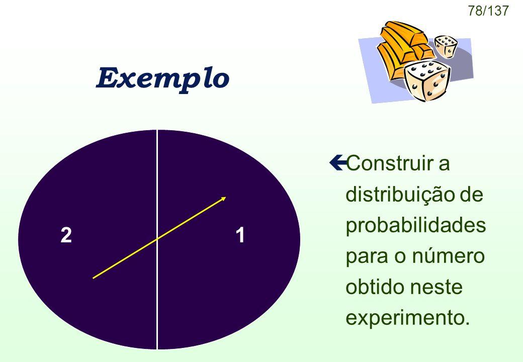 Exemplo Construir a distribuição de probabilidades para o número obtido neste experimento. 2 1
