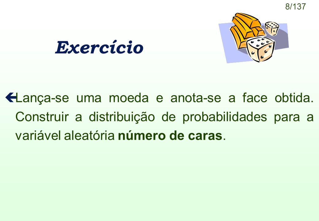 Exercício Lança-se uma moeda e anota-se a face obtida.