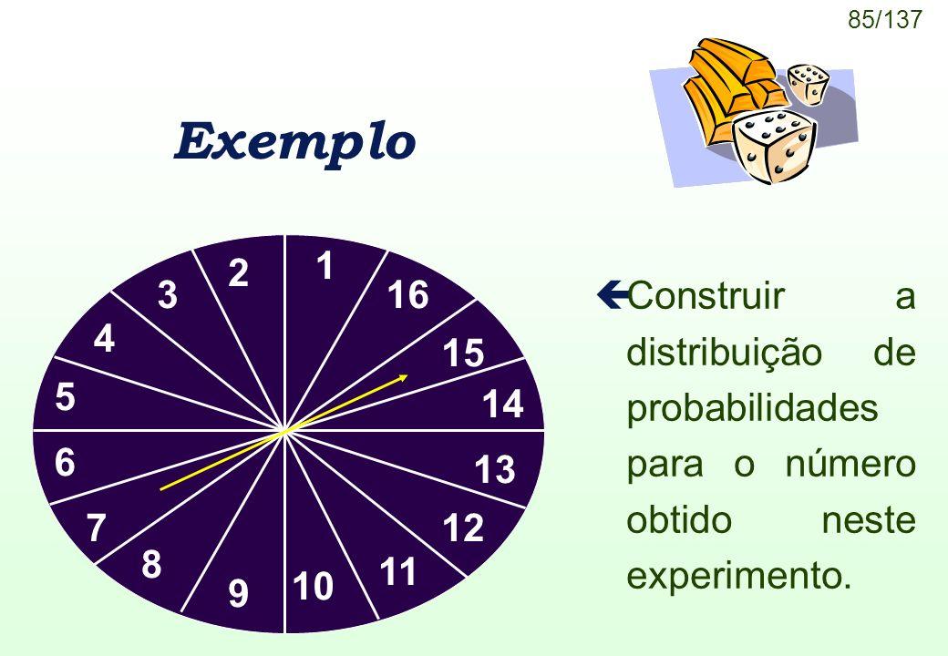 Exemplo 1. 2. 3. 16. Construir a distribuição de probabilidades para o número obtido neste experimento.