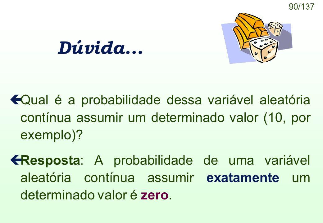 Dúvida... Qual é a probabilidade dessa variável aleatória contínua assumir um determinado valor (10, por exemplo)