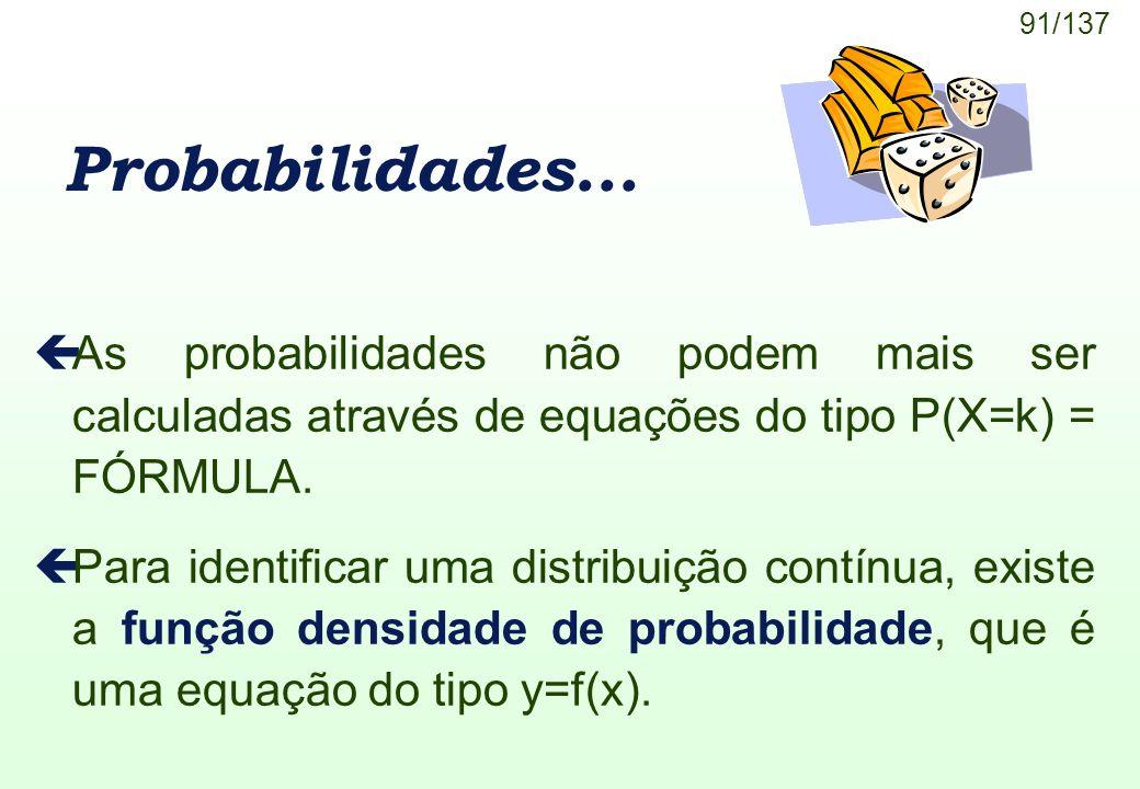 Probabilidades... As probabilidades não podem mais ser calculadas através de equações do tipo P(X=k) = FÓRMULA.
