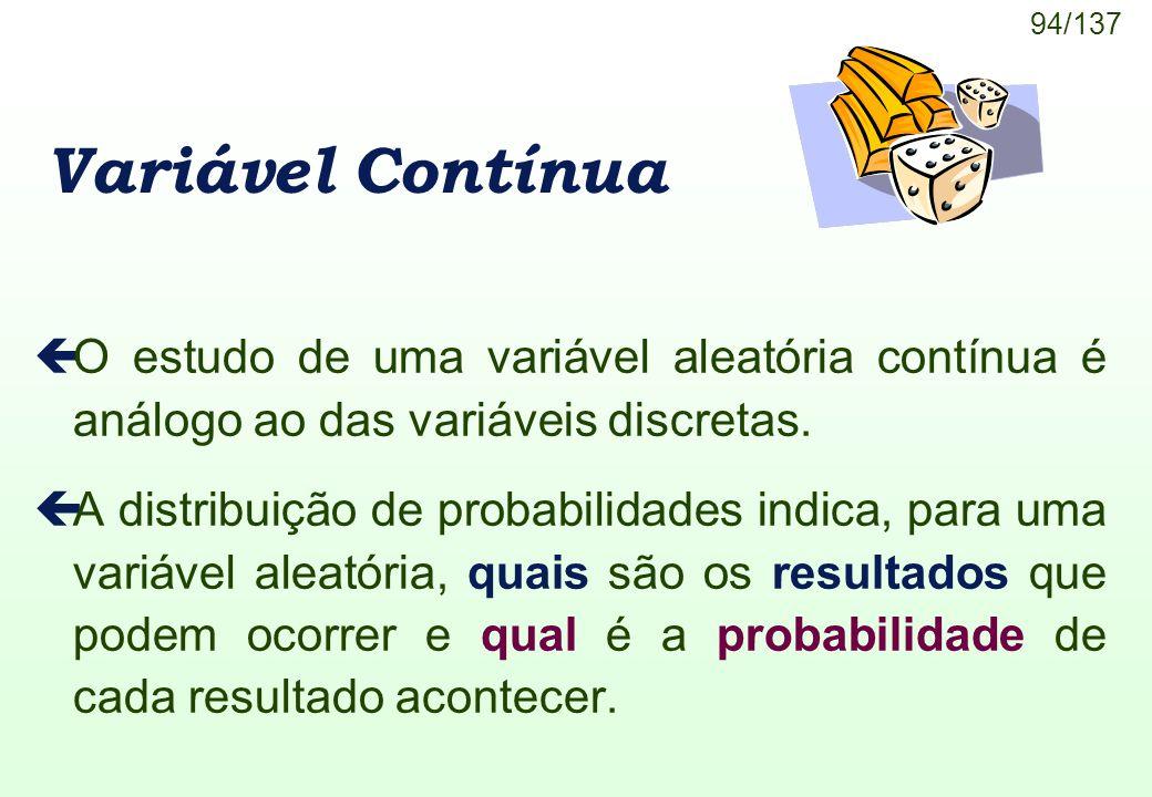 Variável Contínua O estudo de uma variável aleatória contínua é análogo ao das variáveis discretas.