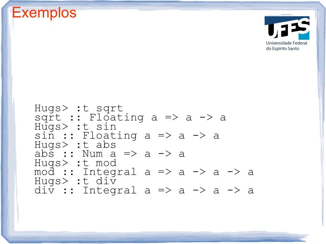 Exemplos Hugs> :t sqrt sqrt :: Floating a => a -> a