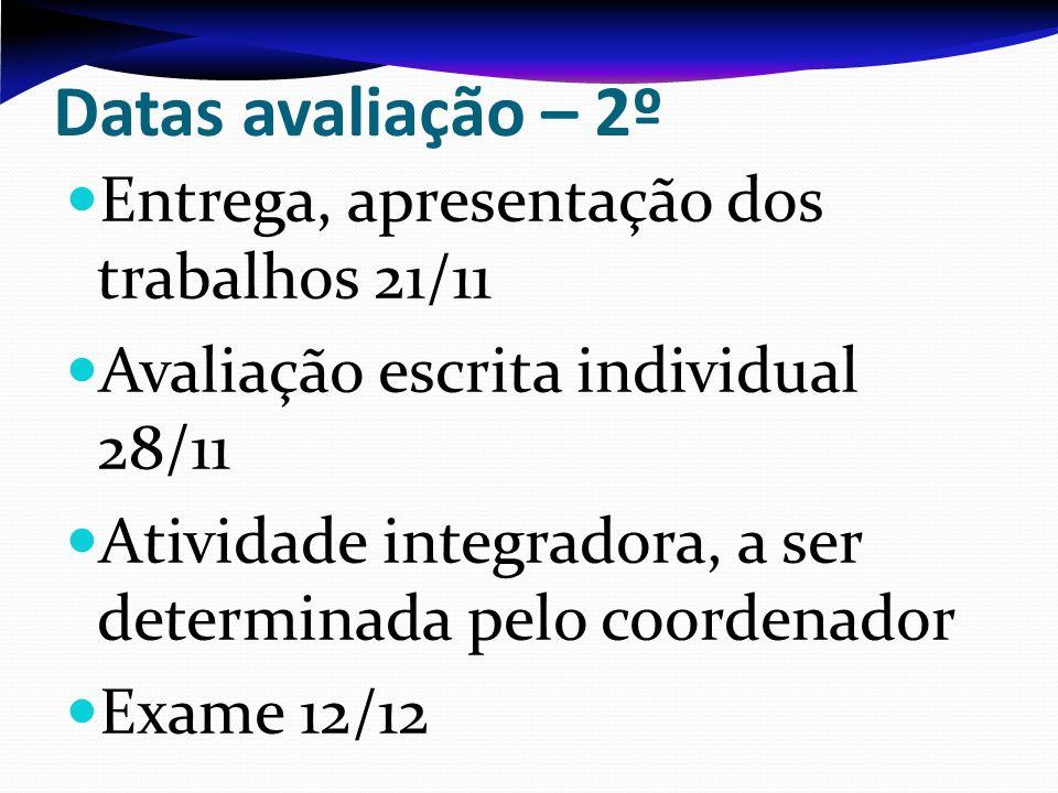 Datas avaliação – 2º Entrega, apresentação dos trabalhos 21/11