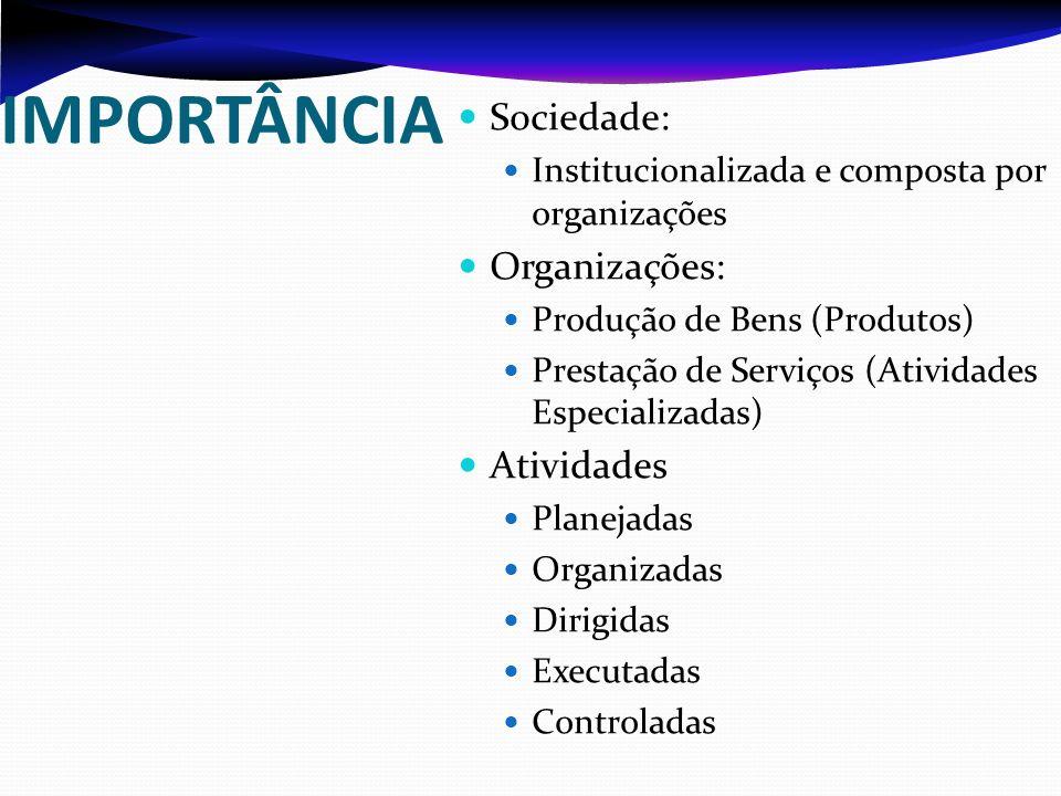 IMPORTÂNCIA Sociedade: Organizações: Atividades